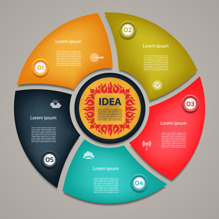 connected idea: Vector circle elements for infographic. Template for cycling diagram, graph, presentation and round chart. Business concept with 5 options, parts, steps or processes. Abstract background