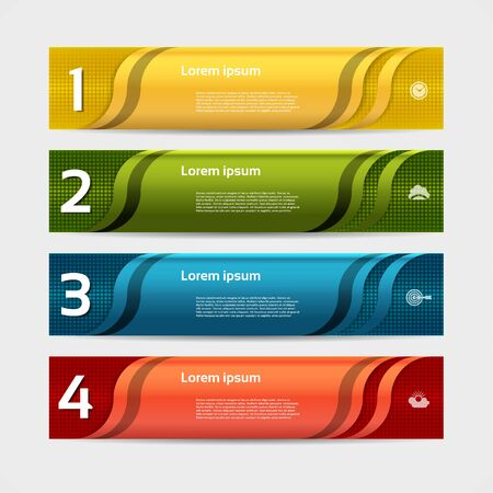 triangle button: Modern wave infographics options banner. Vector illustration. can be used for workflow layout, diagram, number options, web design.