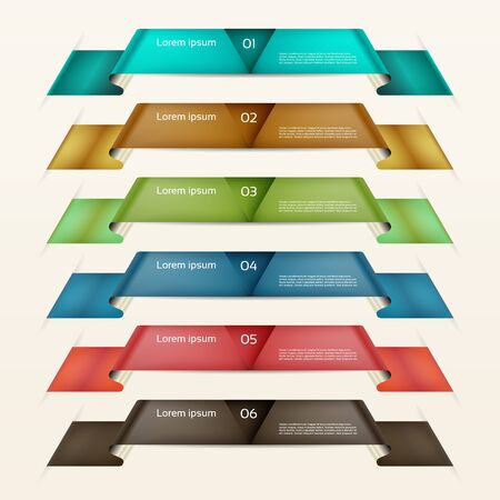 corner tab: Set of ribbons.Modern infographics options banner. Vector illustration. can be used for workflow layout, diagram, number options, web design, prints.