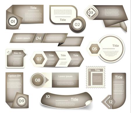 version: Set of Grey progress, version, step icons.
