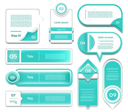 version: Set of turquoise progress, version, step icons.