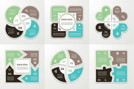 four: Collection of Infographic Templates for Business. Four steps cycling diagrams.