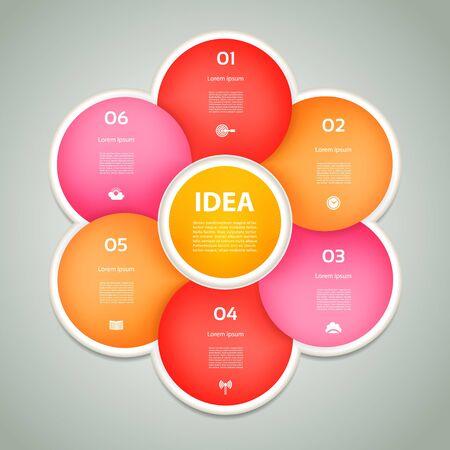 cíclico: Vector círculo infografía. Plantilla para el diagrama, gráfica, la presentación y el gráfico. Concepto de negocio con 6 cíclicos opciones, partes, etapas o procesos. Fondo abstracto. Vectores
