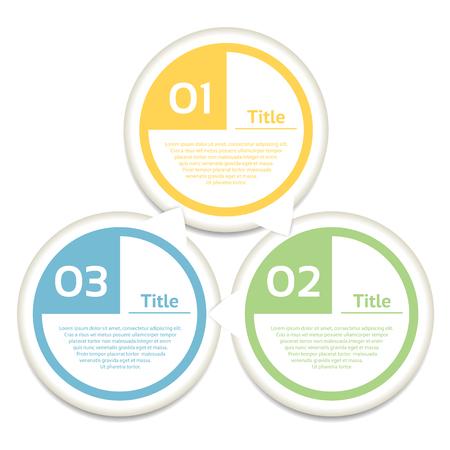cíclico: Flechas del círculo del vector de infografía. Plantilla para el diagrama de ciclismo, gráfica, la presentación y el gráfico ronda. Concepto de negocio con 3 opciones, partes, etapas o procesos. Fondo abstracto.