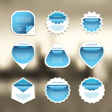 turn on: Set of blue and white vector stickers on blured background.  Vector illustration.