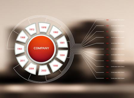 Vector Infografik Timeline mit Unternehmen Meilensteine