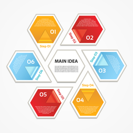 text box: Infographic Template for Business. 6  steps cycling diagram. Process diagram. Progress diagram. Vector infographic.Vector diagram. Illustration