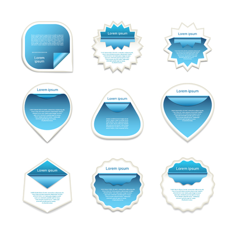 wrapped corner: Set of blue and white vector stickers on blured background.  Vector illustration. eps 10
