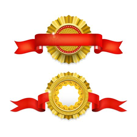 medal: Blank golden award medal with ribbon