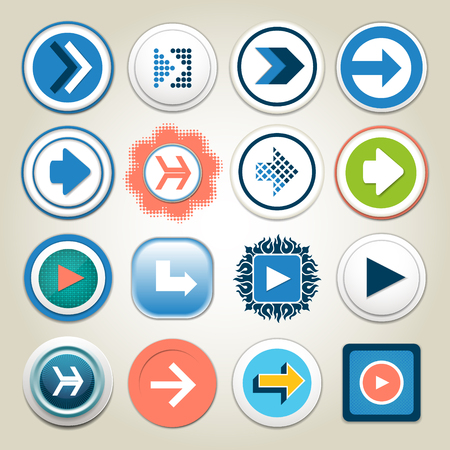 application sign: Arrow vector 3d button icon set. Isolated interface line symbol for app, web and music digital illustration design. Application sign element collection. Illustration
