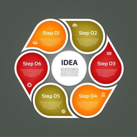 Circular arrows for infographics. Chart, graph, diagram with 6 steps, options, parts. Vector business template.