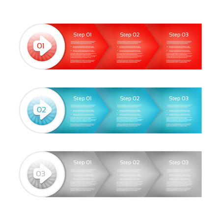 flechas direccion: Uno, dos, tres - conjunto de tres versiones - papel de vector pasos para progresar tutorial