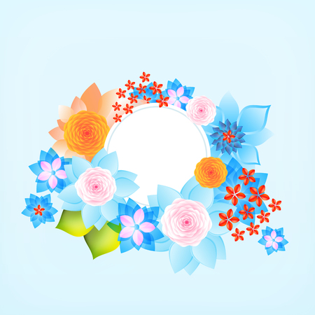 borders plants: Color round frame with flowers