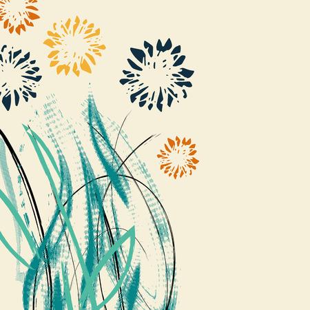 Kreative Universal-Blumenkarte. Hand gezeichnete Texturen. Hochzeit, Jubiläum, Geburtstag, Valentinstag, Partyeinladungen. Vektor. Isoliert.