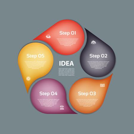 Infographic ontwerpsjabloon kan worden gebruikt voor de werkstroom layout, diagram, opties voor alineanummering, webdesign. Infographic bedrijfsconcept met 5 opties, onderdelen, stappen of processen. Abstracte achtergrond.