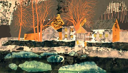 Old mill on the River Oslava. Rural landscape illustration. Reklamní fotografie