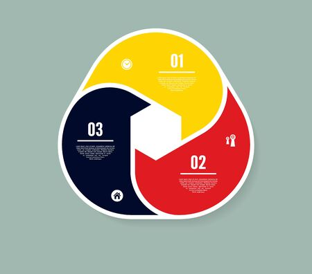 Vector circle infographic. Template for diagram, graph, presentation and chart. Business concept with three options, parts, steps or processes. Abstract background