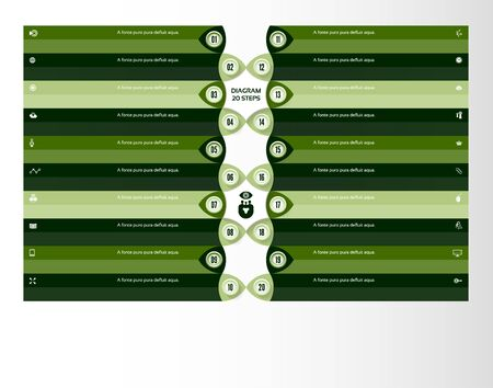 Vector progress background. Template for diagram, graph, presentation and chart. Business concept with 20 options, parts, steps or processes. Abstract background. eps 10
