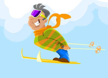 Cheerful skier jumping against the blue sky. Vector