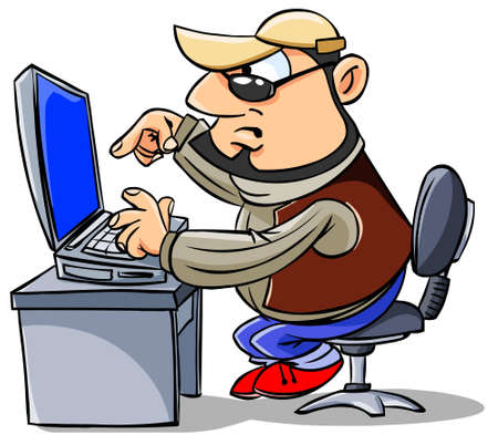 writers: Cartoon man typing on keyboard, looking at computer screen. Stock Photo