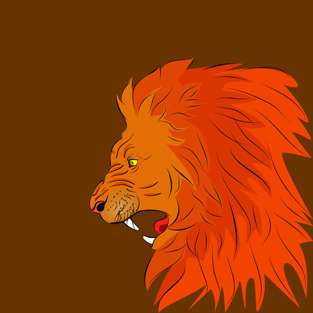 Angry lion roars illustration.