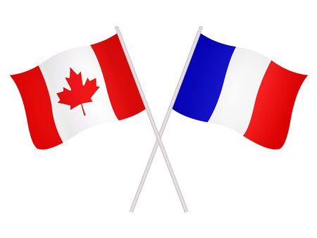 3D Flags of France and Canada isolated on a white background