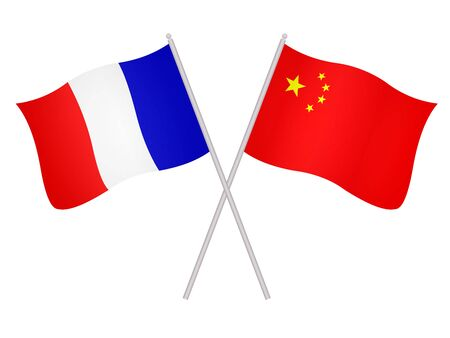 3D Flags of France and China isolated on a white background