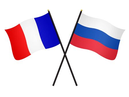 3D Flags of France and Russia isolated on a white background