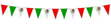 Garland with Mexican pennants on a white background
