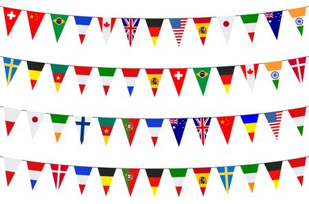Garlands with various international pennants on a white background 일러스트