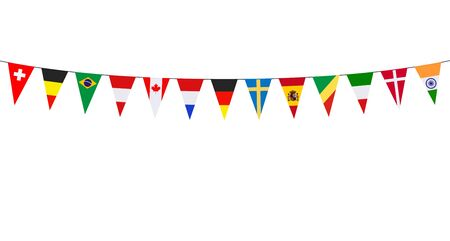 Garland with various international pennants on a white background