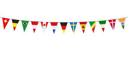 Guirlande avec divers fanions internationaux sur fond blanc