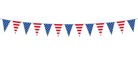 Garland with american pennants on a white background