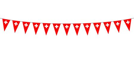 Garland with Swiss pennants on a white background