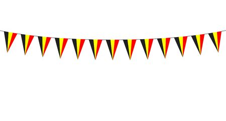 Garland with Belgian pennants on a white background