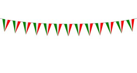 Garland with italian pennants on a white background