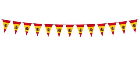 Garland with Spanish pennants on a white background Vector Illustration