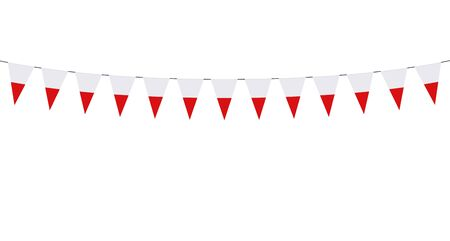 Garland with Polish pennants on a white background Illusztráció