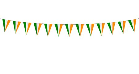 Garland with Irish pennants on a white background