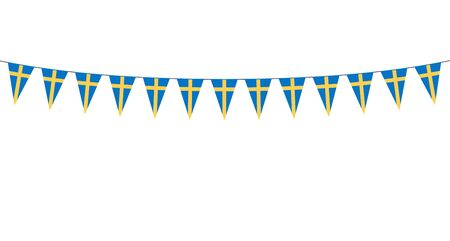 Garland with Swedish pennants on a white background Ilustração