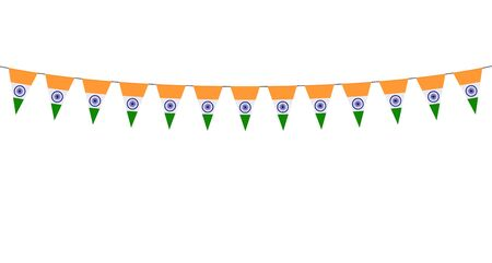 Garland with Indian pennants on a white background