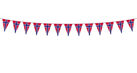 Garland with Norwegian pennants on a white background Stock Illustratie