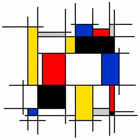 Abstract painting, black bue, yellow, red