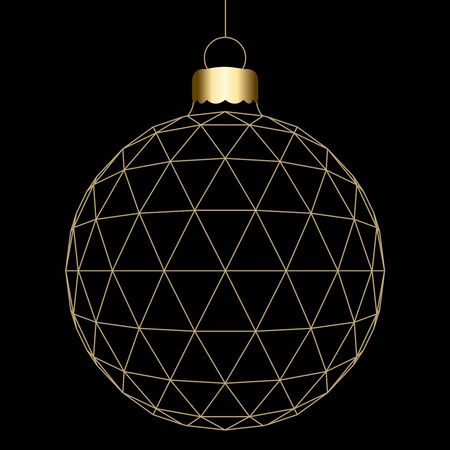 Hanged 3D Christmas ball isolated on a black background Фото со стока
