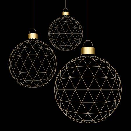 Boules de Noël 3D pendu isolé sur fond noir