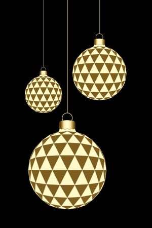Hanged 3D Christmas Balls isolated on a black background