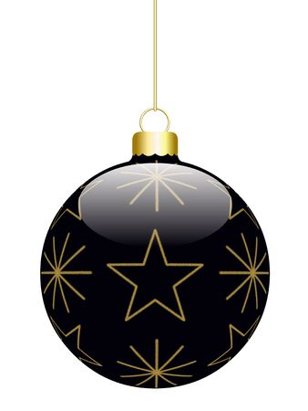 Hanged 3D Christmas Ball isolated on a white background