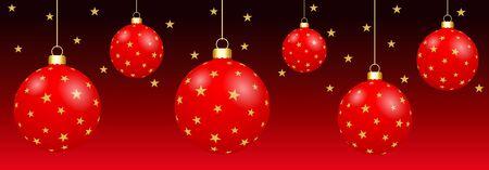Boules de Noël 3D pendu isolé sur fond rouge