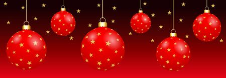 Hanged 3D Christmas Balls isolated on a red background