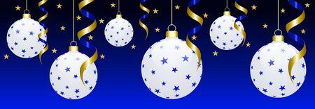 Boules de Noël blanches suspendues en 3D